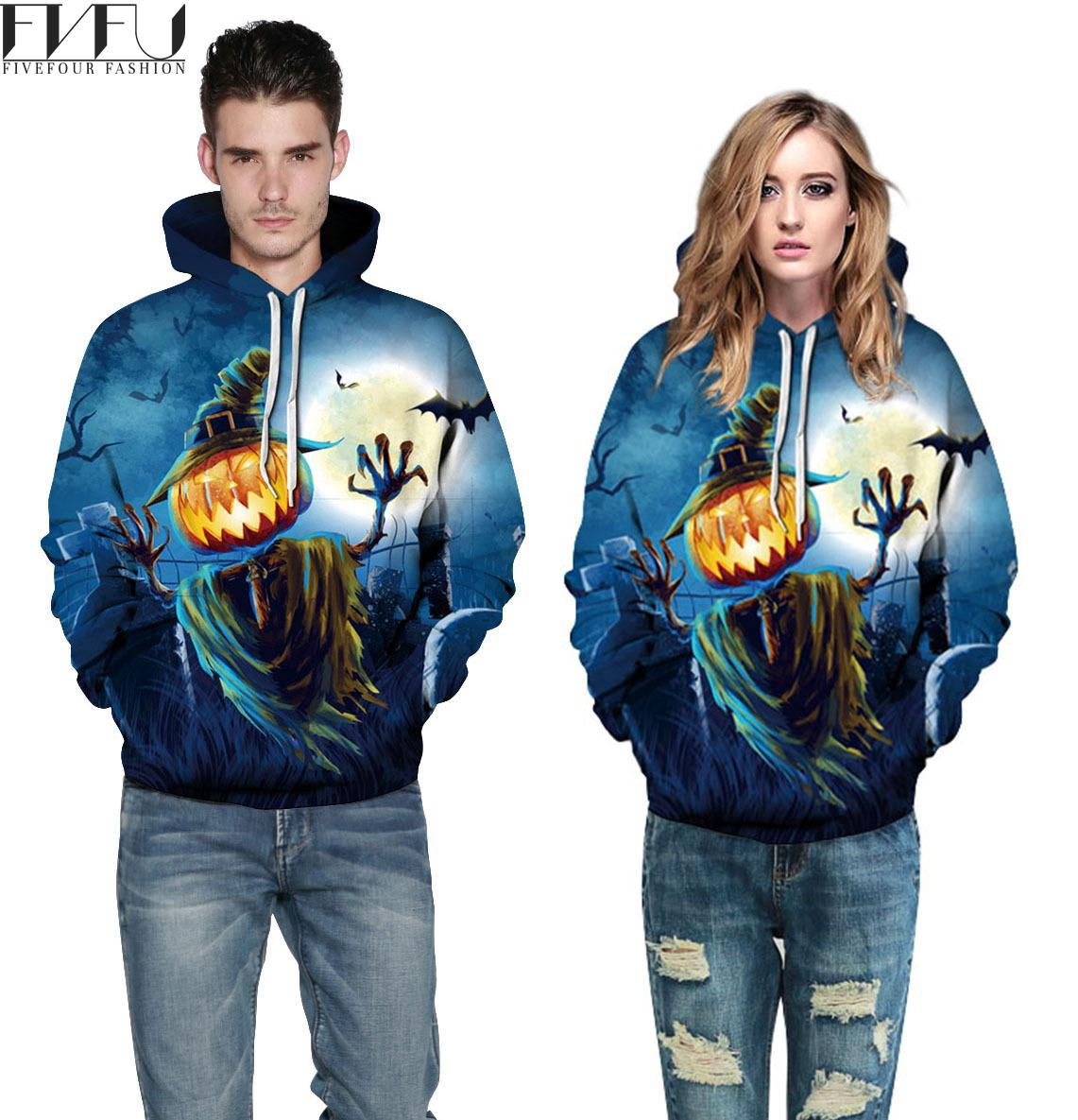 Fashion 2018 Hoodies Sweatshirt Women Men Autumn Winter Pumpkin Halloween Hoodies 3d Print Couples Tops Casual Hoodies Plus Size