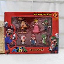 цены на Pack of 6 Donkey Kong Peach Toad Mario Luigi Yoshi PVC Action Figures Super Mario Bros Figure Set Dolls Toys Figuren Brinqudoes  в интернет-магазинах