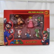 Pack of 6 Donkey Kong Peach Toad Mario Luigi Yoshi PVC Action Figures Super Mario Bros Figure Set Dolls Toys Figuren Brinqudoes super mario bros action figures set 6pcs