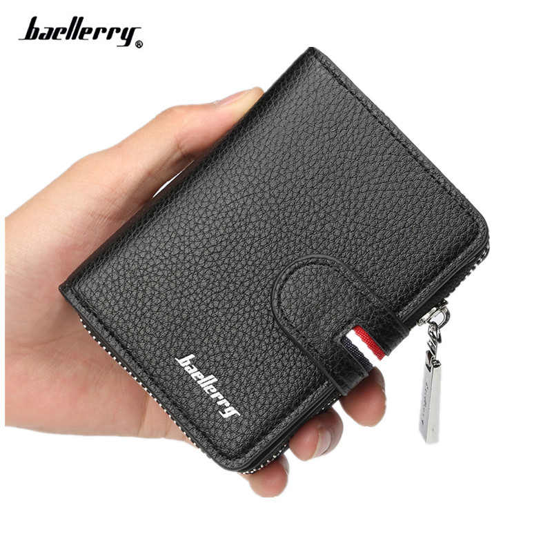 Baellerry designer's leather men wallet short zipper & hasp card purse fashion card holder for male brand man wallet new