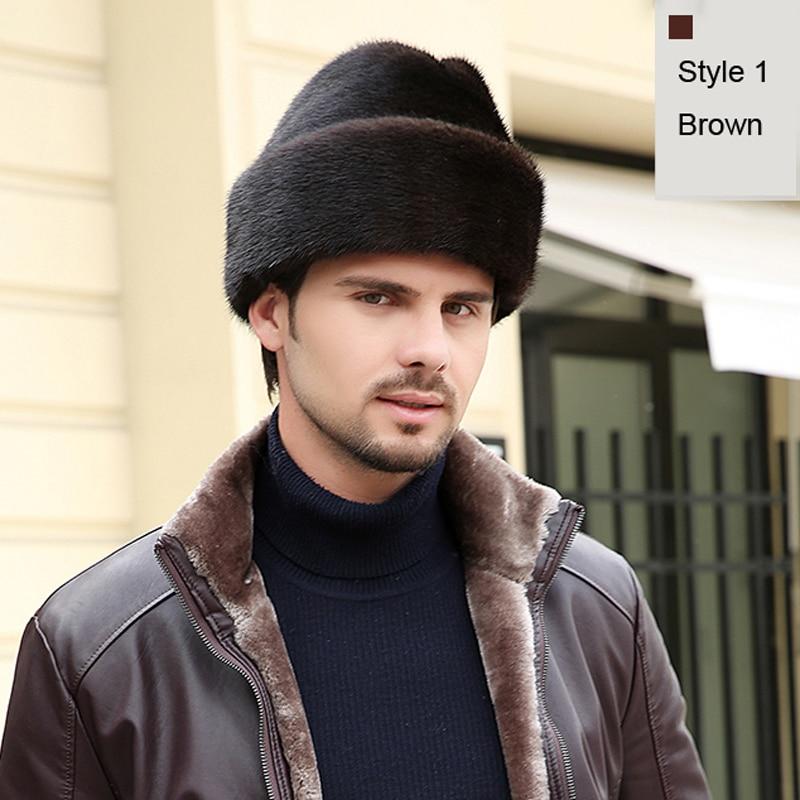 Svadilfari Wholesale New 2018 Warm Winter Men Women Real Mink Fur Cap Trapper Leather Hunting Hat