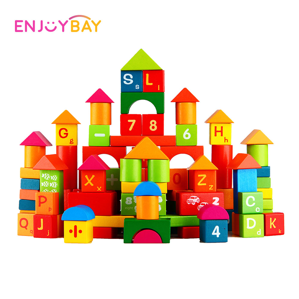Enjoybay Colorful Castle Building Blocks 100pcs Wood