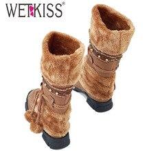 WETKISS Warme Knie Schneeschuhe Größe 35-40 Furry Warm Winter stiefel Mode Perlen Kugel Lace Up Perlen Frauen Plattformen Nieten schuhe