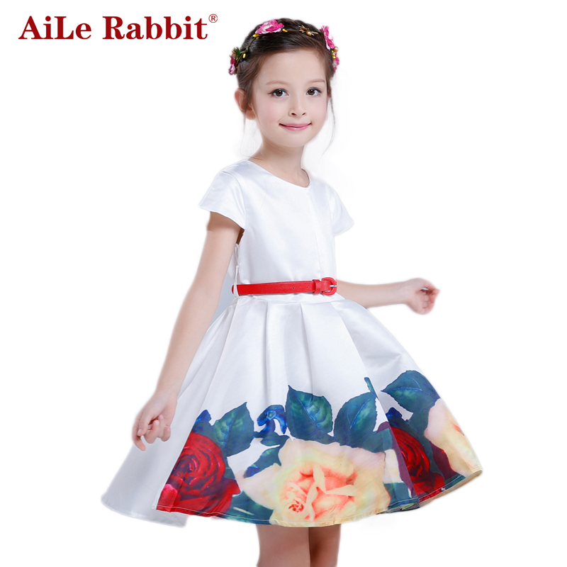 AiLe Rabbit Belababy Princess Girls Floral Dresses 2016 Summer Children Rose Flower Print Waistband Vestidos Kids Party Dresses hot sale floral dresses summer baby rose flower pattern dress kids children party dresses girls vestidos 2016 new princess girls
