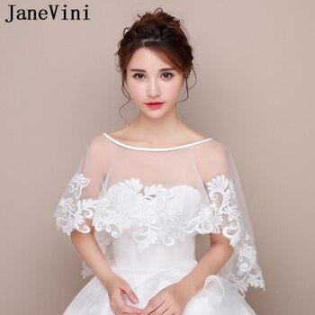 6b0d911f5c JaneVini elegante verano Cabo Blanco De encaje vestido De boda chales  apliques Bolero