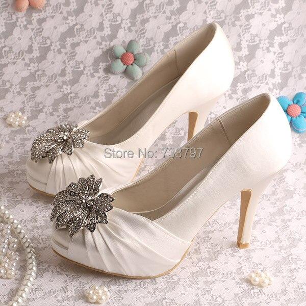 (20 Colors)Custom Handmade British Style Charm Shoes for Wedding High Heeled Ivory