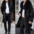Новый Модный Бренд Мужской Искусственного Меха Большой Меховой Воротник Пальто Полный длинные Куртки Человек Сгущает Длинные Парки Зима Теплая Черный Пальто Для человек