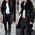 New Fashion Brand Mens Faux Fur Big Fur Collar Coats Full Long Jackets Man Thicken Long Parkas Winter Warm Black Coats For Man