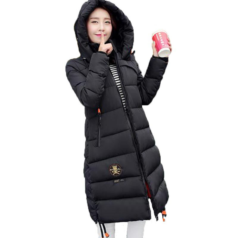 ФОТО 2016 High Quality Cotton Padded Jacket Women Winter Longer Sections Hooded Parkas Slim Thick Warm Cotton Coat Plus Size PW0049