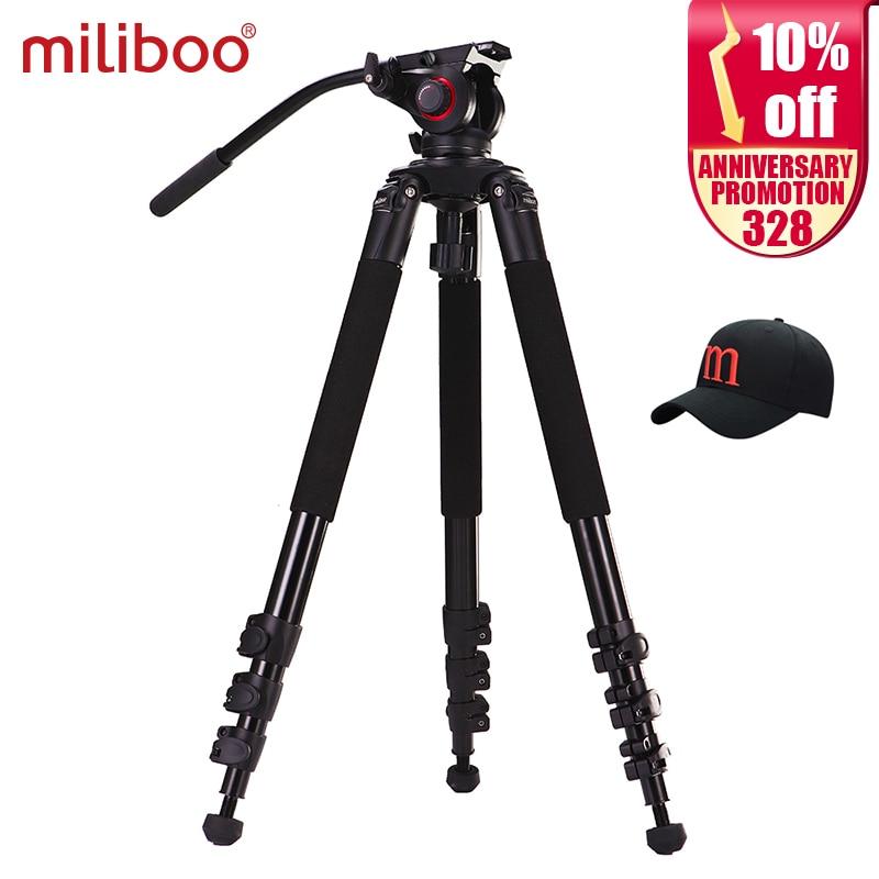 miliboo MTT702A Tripod New Portable 25KG ტევადობის ალუმინის მონოპოდი სტენდი პროფესიონალური კამერის სამფეხა კამერის კამერისთვის dslr