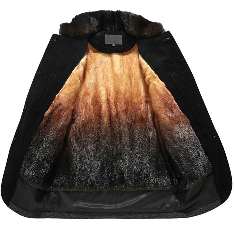Online Shop Golden mink fur lined leather jacket nick coat male ...