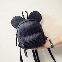 Mickey Backpack Sweet Fashion wild Women Backpack Bag 2016 PU Leather Mickey girl cartoon big ears small mini travel shouder bag
