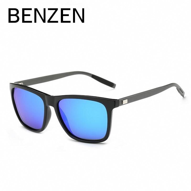 벤젠 편광 선글라스 남성 여성 태양 안경 알루미늄 + PC 남성 음영 운전 안경 블랙 케이스 9137