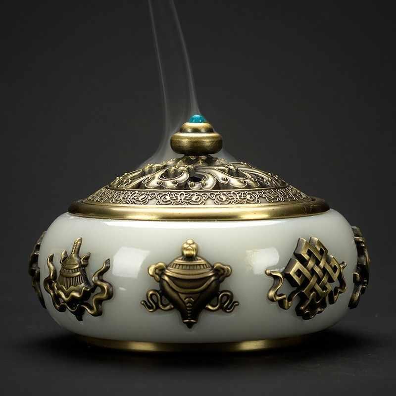 Передничек Античная Керамика металлическая горелка для благовоний в помещении сандалового дерева курильница Чай церемонии аксессуары Непал, ручная работа спиральный ладан база