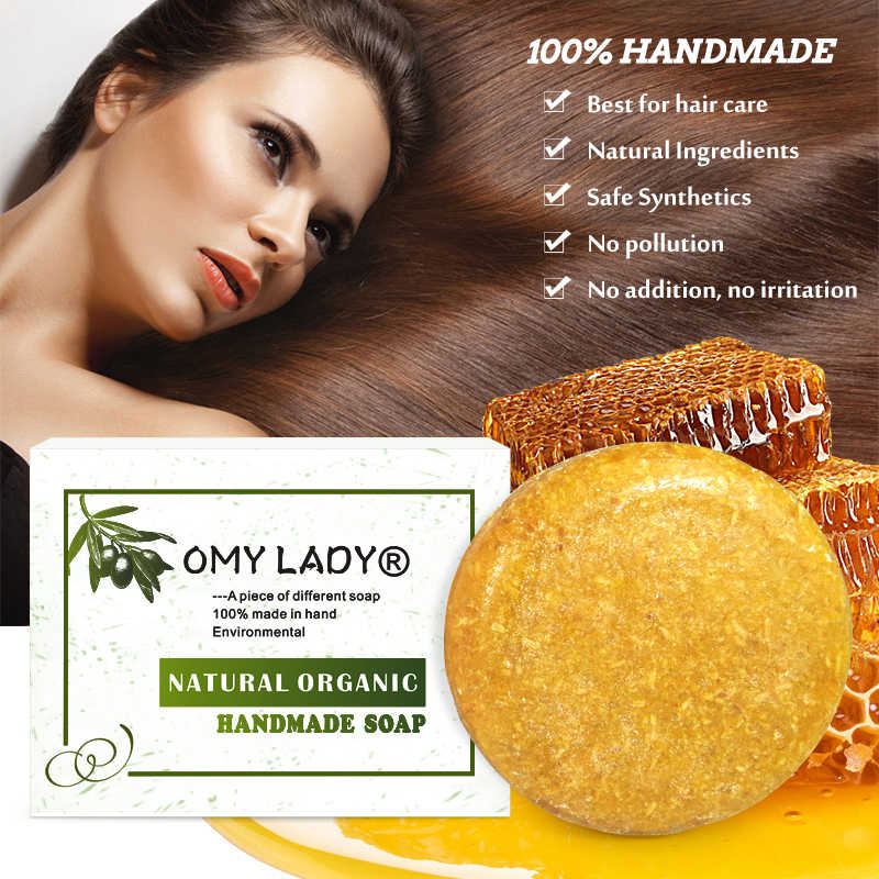 OMYLADY 100% טהור טבעי בעבודת יד שמפו סבון דבש תמצית חיוני שמן שיער קר מעובד נגד קשקשים את טיפוח שיער