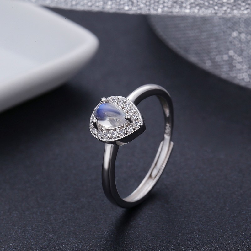 925 Sterling Silver Pear Natural Blue Moonstone Accent CZ Rings For Women Wedding Engagement Jewelry Finger Anillos Bague Anillo foroch brand women bag top handle bags female handbag designer hobo messenger shoulder bags evening bag leather handbags sac 352