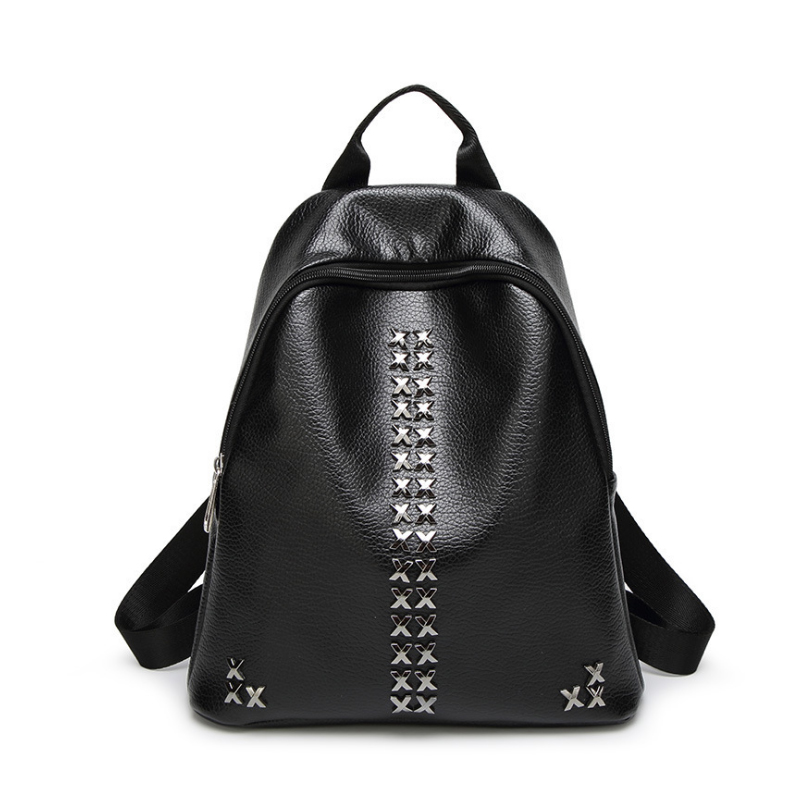 Homeda Fashion Women Backpacks Rivet Zipper PU Leather Student Backpack preppy Style Backpack Girls Womens Back Pack mochila