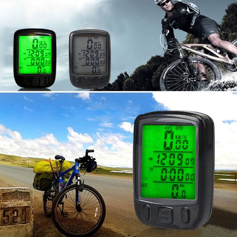 Bicycle Computer Water Resistant Cycling Odometer Speedometer with Green LCD Backlight Bike Computer