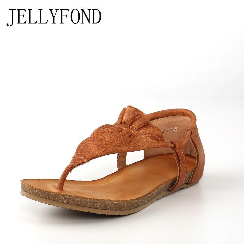 Boho Style Women T-Strap Sandals 2018 Summer Handmade Real Leather Flat Heel Gladiators Flip Flops Beach Shoes Woman Plus Size covoyyar 2018 fringe women sandals vintage tassel lady flip flops summer back zip flat women shoes plus size 40 wss765