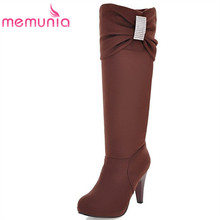 large size 34-43 fashion knee high boots stiletto high heels women's boots round toe platform shoes autumn winter