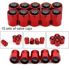 10 комплектов колпачки для автомобильных шин автомобильные аксессуары Автомобильная эмблема логотип колпачки вентиля шины красный металлический клапан крышка