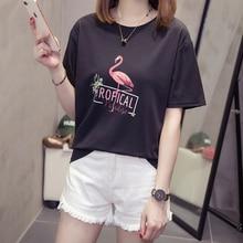 Flamingo Print T Shirt Women 2019 New Loos Short Sleeve T-shirt Female Tee Shirts Summer Casual Femme Tops Super Plus Size Shirt flamingo print crop tee