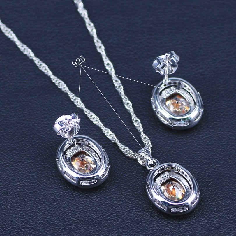 Ánh Sáng tự nhiên Rượu Sâm Banh Cubic Zirconia 925 Sterling Silver Bộ Đồ Trang Sức Cho Phụ Nữ Cưới Bông Tai/Mặt Dây Chuyền/Vòng Cổ/Nhẫn