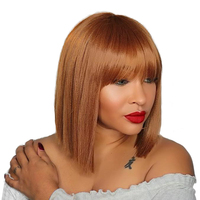 Красивые волосы короткие парики человеческих волос с спереди челкой бразильского Реми Прямые сложенные пополам волосы боб парики для черн