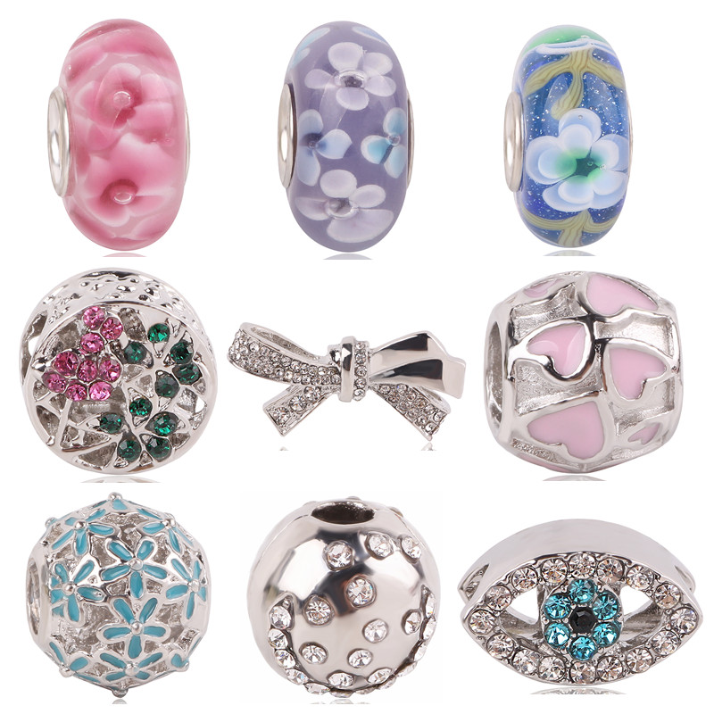 Couqcy New Love Bow tie Flower Eye Arrival Many Styles European Charms for Beads Pandora Bracelets Necklace DIY Accessories
