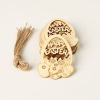 10pcs Laser Cut Happy Easter Egg Wooden Tag Embellishment Decorative Pendants DIY Hanging Ornaments With Strings