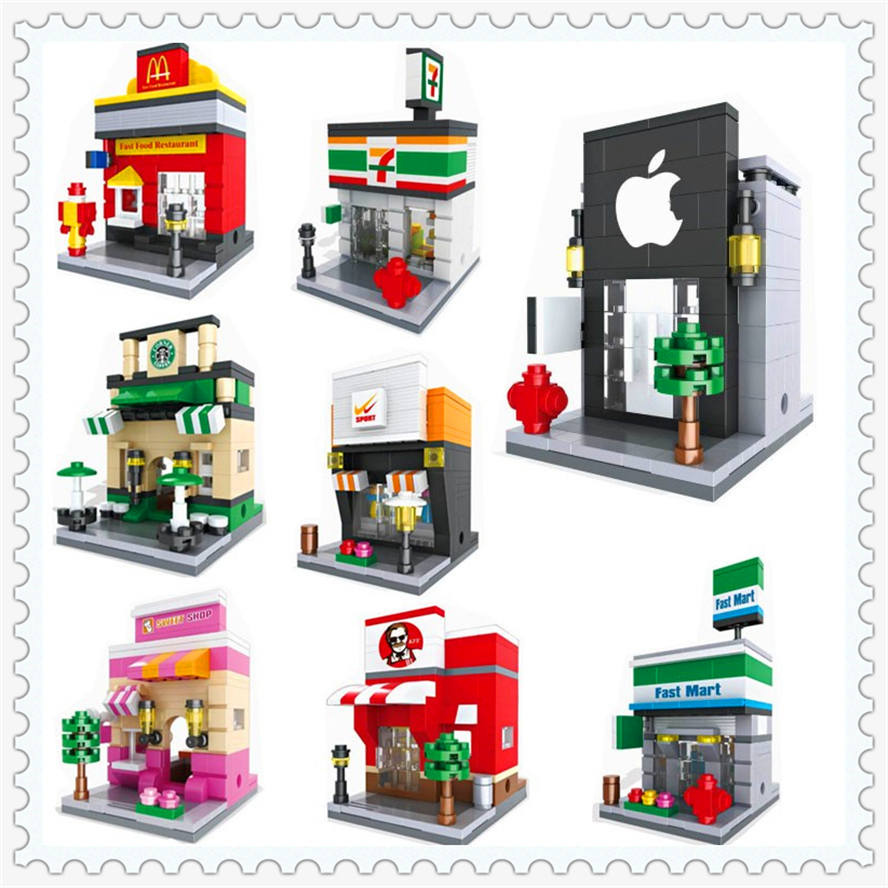 1559Pcs Building Block Toys 8 In 1 City Series Mini Street Apple McDonald Store Shop HSANHE Gift For Children Compatible Legoe decool 3345 technic city series mini container truck 119pcs building block educational toys for children compatible legoe