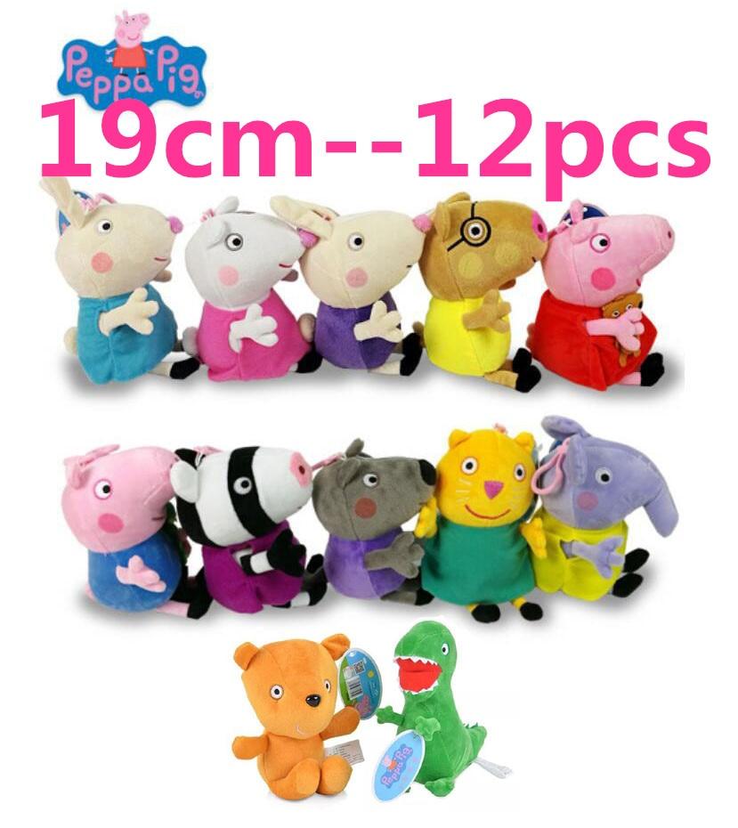 12pcs set Genuine Peppa Pig pink PIG 19cm Plush anime Toyshot sale Soft Stuffed cartoon Animal