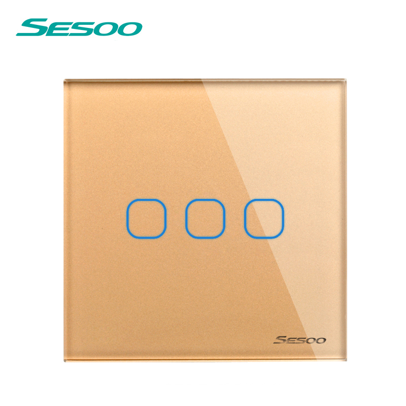 EU/UK Standard SESOO Touch Switch 3 Gang 1 Way,Crystal Glass Switch Panel,Fireproof and durable,Wall Light Touch Switch elite kilter touch switch 1 gang 1 way eu uk standard crystal glass switch panel smart touch wall light switch ac 170v 240v