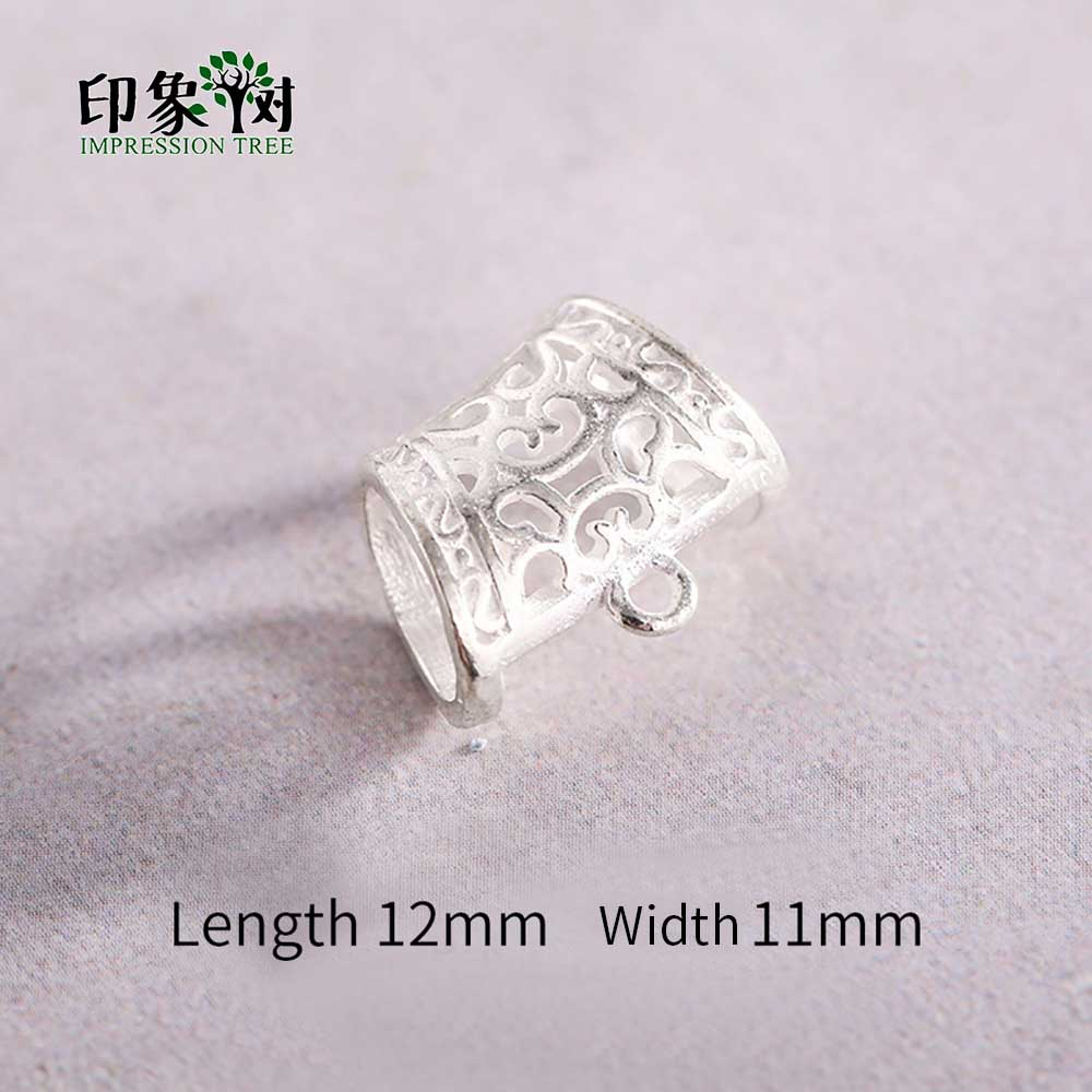 1Pc 12x11mm 925 Sterling Silver Hollow Pattern Tube Connectors With Hang Ring For Necklace DIY Jewelry Makings 92549