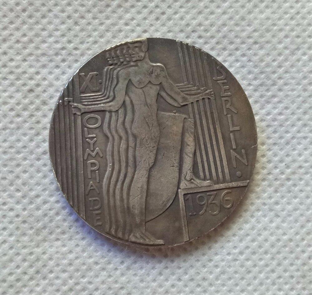 Type #2_1936 WW2 SECONDE GUERRE MONDIALE Allemand Berlin Jeux Olympiques médaille médaillon COPIE COIN LIVRAISON GRATUITE