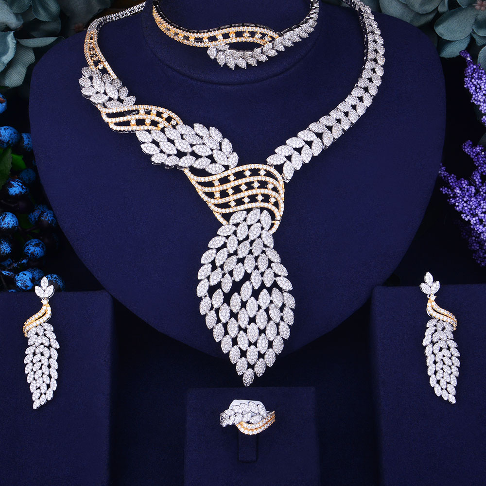GODKI New Luxury 2 Tone Gold Silver Mixed Women Nigerian Wedding Naija Bride Cubic Zirconia Necklace Dubai 4PCS Jewelry SetGODKI New Luxury 2 Tone Gold Silver Mixed Women Nigerian Wedding Naija Bride Cubic Zirconia Necklace Dubai 4PCS Jewelry Set