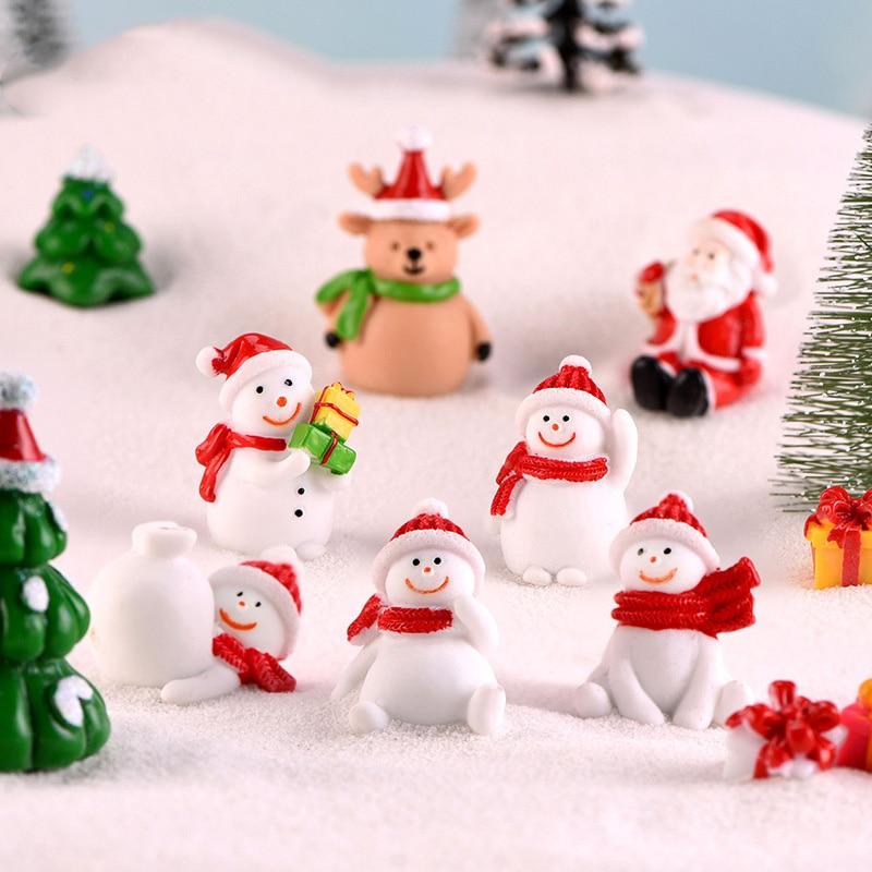 Christmas:  2pcs Kawaii Christmas Snowman Micro Landscape Figurine Ornament Plant Pot Fairy Garden home decor Santa Claus Christmas Gift - Martin's & Co