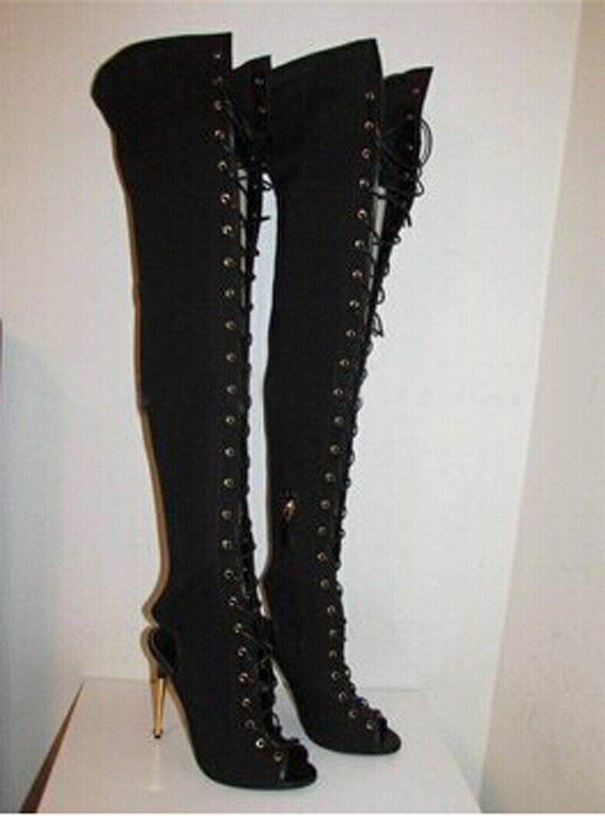 Popular Gold Thigh Boots-Buy Cheap Gold Thigh Boots lots from ...