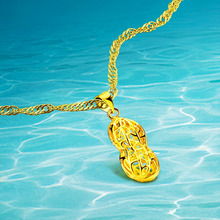 2017 New Arrival Necklaces For Women;Real Plated 24K Gold Longevity Fruit Necklaces Pendants Jewelry  Water Wave Chain Wholesale