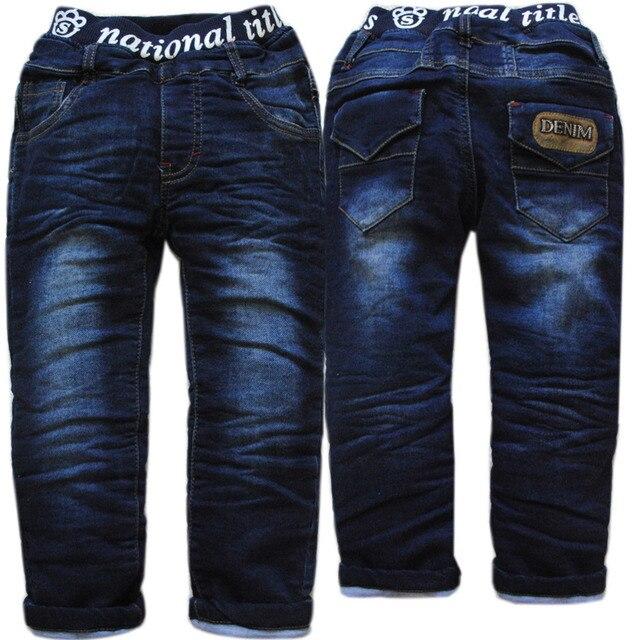 3987 winter warm jeans pants boys trousers thick denim navy blue kids fashion children's clothes  new
