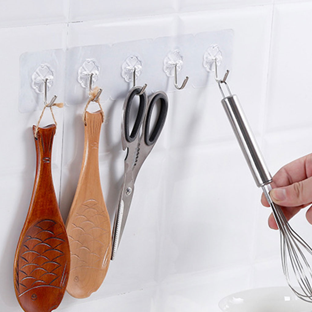 6/10Pcs Adhesive Hooks Kitchen Wall Hanger Transparent Removable Adhesive Hanger Reusable Wall Hooks