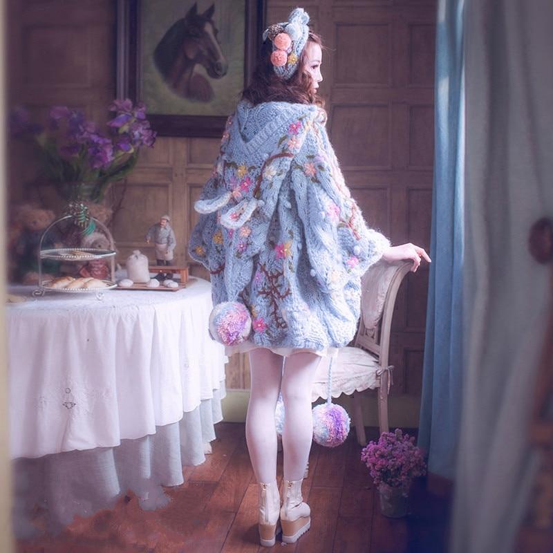 Lapin Cardigans Broderie Poupée Aiguille Main Pu Bâton Chapeau Lâche Magique Lourde La Ciel 2018 À Chandail Bleu Femmes Vierge Printemps Femelle UrqwzU