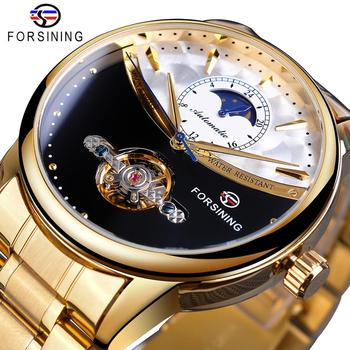 Forsining Men Watch Automatic Golden Sun Moon Phase Steel Band Tourbillon Black White Face Business Mechanical Reloj Hombre 2019