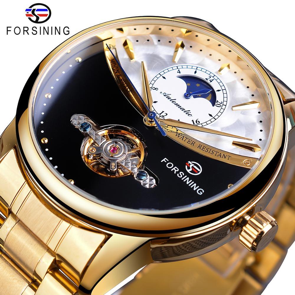 Fase da Lua Banda de Aço Forsining Relógio Masculino Automático Ouro Sol Tourbillon Preto Branco Rosto Negócio Mecânico Reloj Hombre 2020
