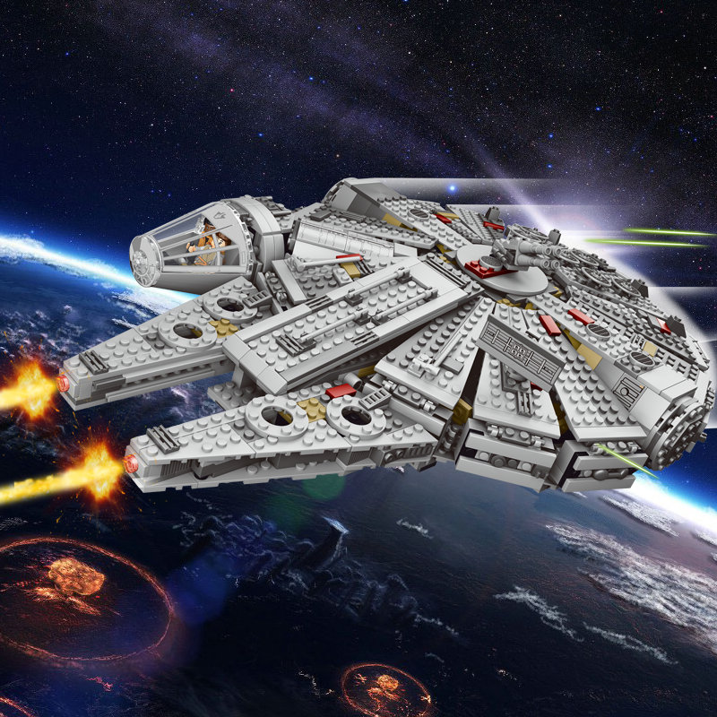 Star War Educational Building Blocks Toys For Children Christmas Gifts Hero Millennium Falcon spaceship Weapon compatible Legoe military star wars spaceship aircraft carrier helicopter tank war diy building blocks sets educational kids toys gifts legolieds