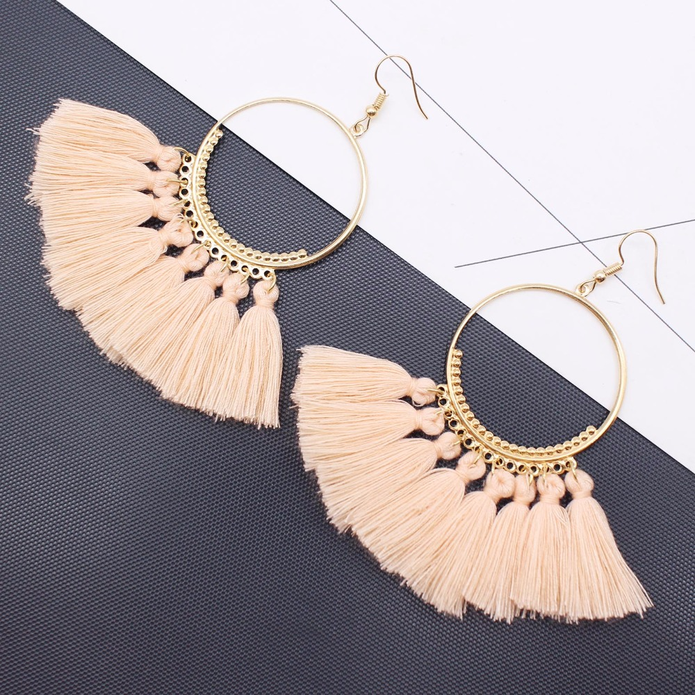 19 Colors round dangling pendant Drop earrings woman fabric tassel earring ethnic bohemian fantasy fringed boucles d'oreille 10