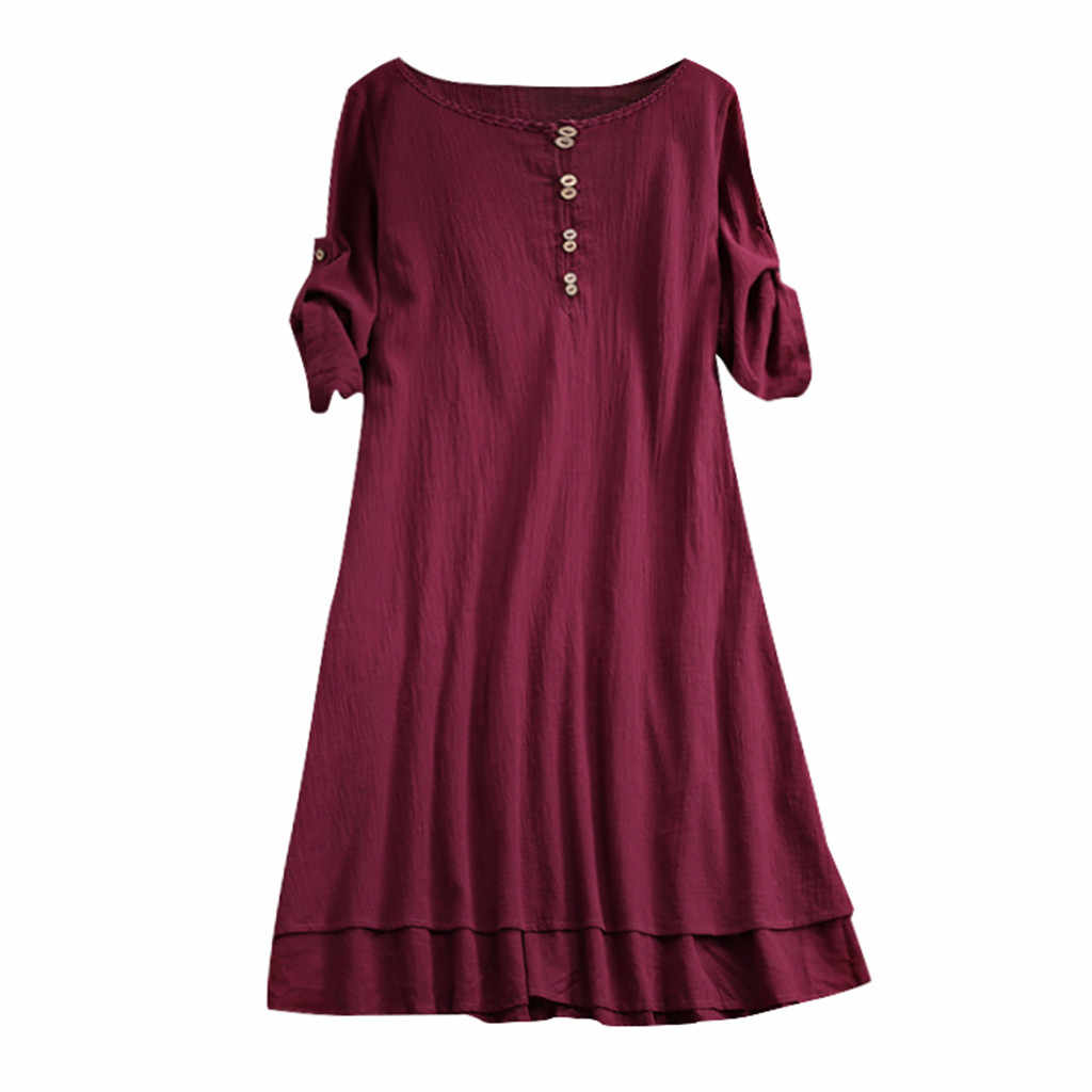 CHAMSGEND Dress Women's Vintage Half Sleeve Solid Dress with Button Casual Loose Plus Size Dress Holiday Summer Vestidos 16JAN18