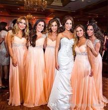 2016 Sweet Coral Crystals Bridesmaid Dresses V Neck A Line Floor-Length De Casamento Robe Demoiselle D'honneur Bridesmaid Dress