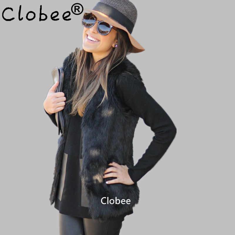 Пальто из искусственного меха 2018 плюс размер 5XL 6XL черный женский жилет из искусственного меха пальто Кролик норковый мех жилет длинные меховые жилеты куртка