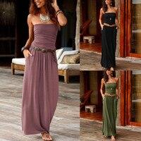 Женское длинное платье-бандо с открытыми плечами, летнее Сплошное Длинное Платье